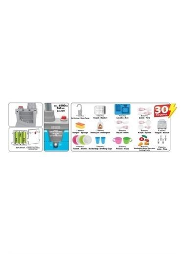 Kayyum Oyuncak Kayyum Oyuncak Modern Mutfak Lavabo Seti Pilli Sulu Çeşmeli Oyuncak Set 7020P Mavi